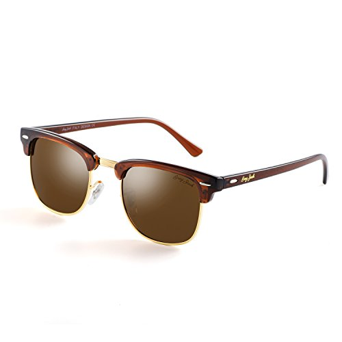 Brown Replica Sunglasses (GREY JACK Classic Polarized Half Frame Mirrored Sunglasses Fashion Eyeglasses for Men Women Brown Frame Brown lens)