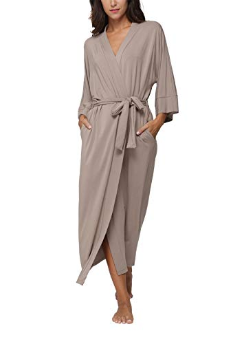 Women's Cotton Kimono Robes,Long Bathrobes Soft Dressing Gown Loungewear,Khaki