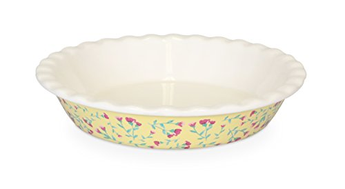 Fanci Baking by Captivate Brands FNRBRNDPL Large Round Ceramic Fluted Baking, Pie Plate, Yellow (Ceramic Pie Plate)