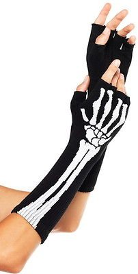 Black Skeleton White Rock Bones Long Fingerless Arm Warmers Gloves
