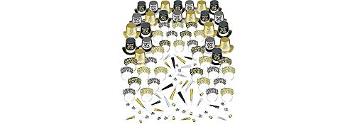 Amscan Elegant Celebration New Years Party Kit for 50, Includes Top Hats and Glitter Tiaras