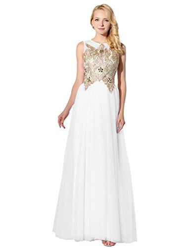 HarveyBridal Gold Lace Evening Dress Long White Tulle Homecoming Dress