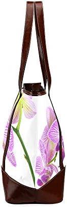 QIAOLII Branche d'orchidée printemps fleur bureau fourre-tout sac fourre-tout pour femme grande capacité sacs à bandoulière imprimés avec fermeture à glissière poignée supérieure