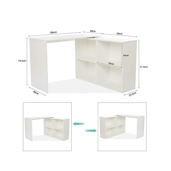 Mondeer – Bureau d'angle – avec Rangement, 4 Étagères, Angulaire Réversible, Bois, 106(L) x 106(P) x 74.5(H) cm (Blanc)