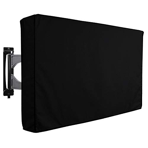 "Lucky Monet 30""- 65"" TV Cover Outdoor Weatherproof Television Protector Flat Screen TV Cover with Remote Storage Pocket fits for LED, LCD, Plasma TVs and Most Mounts and Stands (Black/ 60""- 65"")"