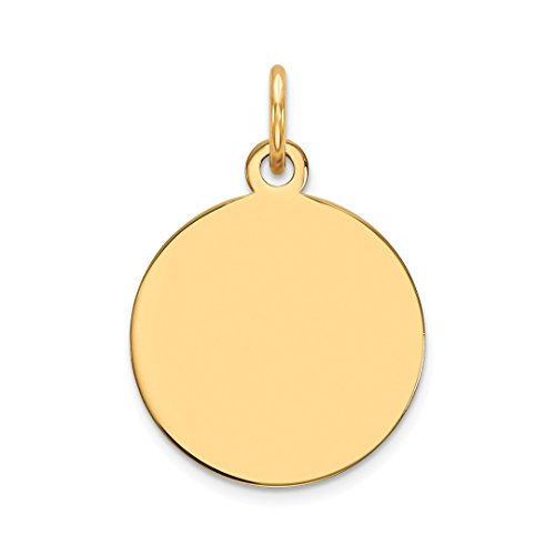- 14k Yellow Gold .011 Gauge Circular Engravable Disc Pendant Charm Necklace Round Plain Fine Jewelry For Women Gift Set