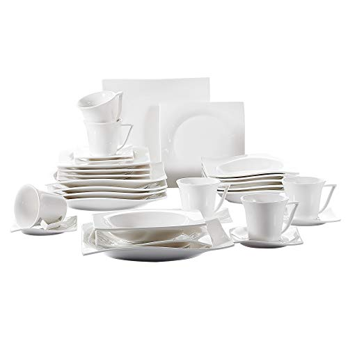 Porcelain China Dinnerware - Vancasso Porcelain Dinnerware Set of 6, Cream White Glazed Cups Saucers Plates Dinner Service Set for Dessert Soup Catering, 30-Pieces