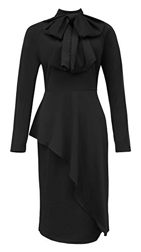 TBONTB Womens Tie Neck Peplum High Waist Long Sleeve Sexy Bodycon Dress X-Large Black (Dress Peplum Waist)