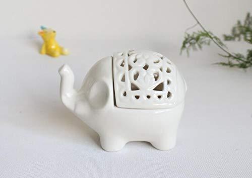 2 PCS Set Cute Elephant Shaped Openwork Design Ceramic Decorative Tea Light Candleholder ()