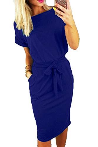 Casual Women Dress Neck Blue Dress Midi FAFOFA Sleeve Belt Pencil Short Round 6qwqW10a