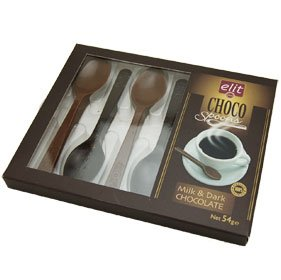 ELIT 1924 Chocolate 6 Spoons (Milk & Dark Chocolate) 54g Turkey Import (Chocolate Import)