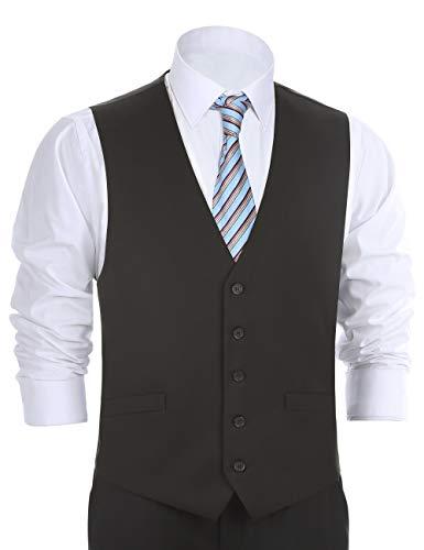 Chama Men's Formal Classic Fit Business Dress Suit Button Down Vest Waistcoat(48 Regular,Black) - Waistcoat Black