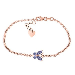 QP bijoutier Tanzanite naturelle Bracelet en or Rose 9 carats, 0.60ct coupe Marquise - 5025R