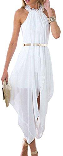 [Booty Gal Women's White Chiffon Sleeveless Evening Party Prom Dresses] (Maternity Fancy Dress Uk)
