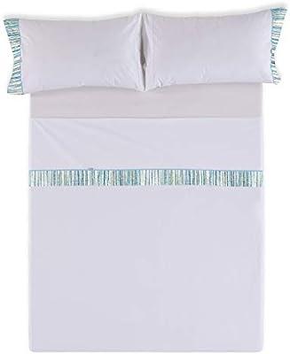 ESTELIA - Juego de sábanas Pax Color Blanco óptico - Cama de 150 ...
