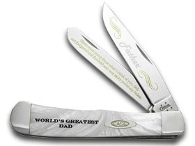 Pearl Trapper Knife - CASE XX World Greatest Dad White Pearl Limited Edition Trapper Pocket Knife Knives