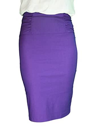 Gathered High Waist Stretch Pencil Skirt In Your Choice of Colors - Plus Sizes Included (Small, Purple)