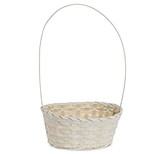 Amazon round bamboo handle basket white 9in home kitchen round bamboo handle basket white 9in mightylinksfo