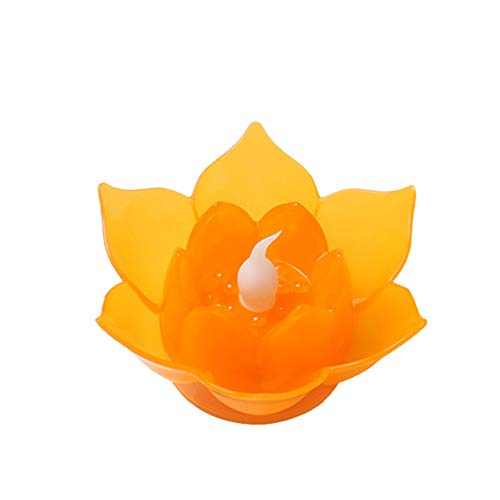 LED Lotus Flower Light, Batteries Operated Flower LED Candle Floating Flameless Candle Light Good Decoration for Christmas Halloween Party Festival (Orange)