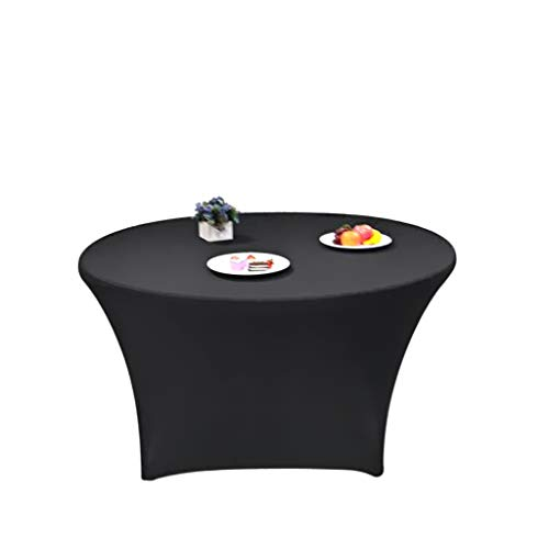 """BTSKY 60"""" 5ft Black Round Stretch Tablecloth-Spandex Round Tablecover for Wedding Party Banquet Restaurant"""
