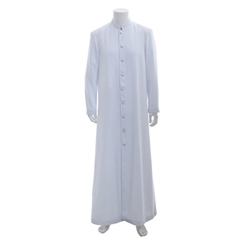 Vestments Liturgical (Unisex Roman Cassock Altar Server Cassock Robe Clergy Pulpit Liturgical Vestments (XXL:Height73-74 Bust50-52 Waist44-46 Hips48-50, White))