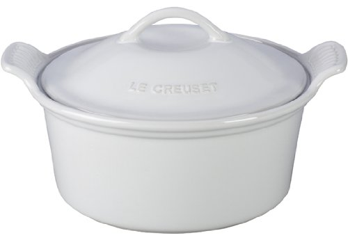 Le Creuset Stoneware Heritage Covered Round Casserole, 3-Quart, White