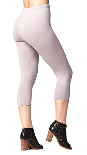 Premium Ultra Soft Womens High Waisted Capri Leggings - Cropped Length - Solid - Lilac Grey - Plus Size (12-24)