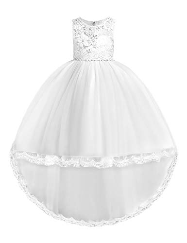 JOYMOM White Flower Girl Dress,Wide Neck Sleeveless Mesh Bridesmaid Dresses Kids Trapeze Pleated High-Low Versatile Graduation Gowns House Wear Size(140) 7-8 Years -