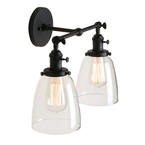 Pathson 2 Light Wall Sconce, Vintage Style Industrial Wall Light Fixtures with Oval Cone Clear Glass Shade Dark Steel Finished (Cone Light Fixture)