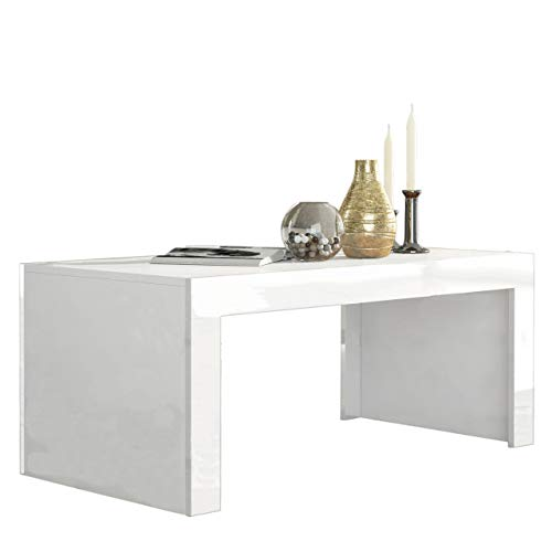 Concept Muebles Milano Coffee Table - White Matte Body in Contrast with High Gloss Finish of The laterals (White & White)