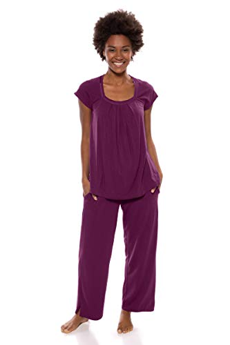 (Texere Women's Pajamas in Bamboo Viscose (Bamboo Bliss, Concord Grape, L) Gifts for Valentine's Day)
