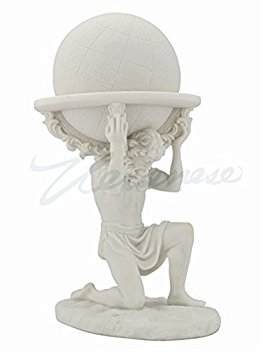 Greek Titan Atlas Carrying the World Statue (White) - Greek Art Statues