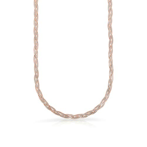 Verona Jewelers Sterling Silver Diamond Cut 3 Strand Row Herringbone Chain Bracelet and Necklace- 925 Braided Necklace and Bracelet, Braided Snake Chain (24, Two Tone Rose Gold)