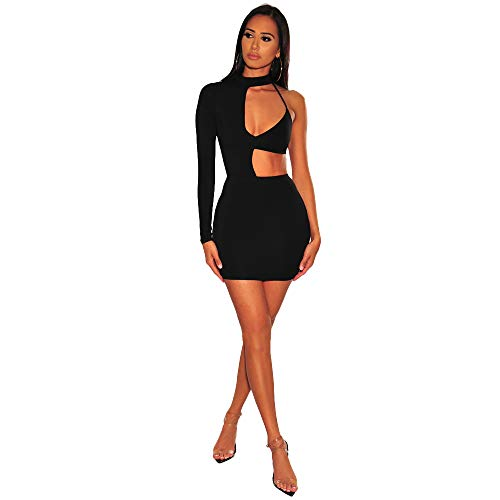 BUBUWING Women's One Shoulder Sleeveless Choker Hollow Out Bodycon Pencil Midi Party Irregular Dress (Black, S)