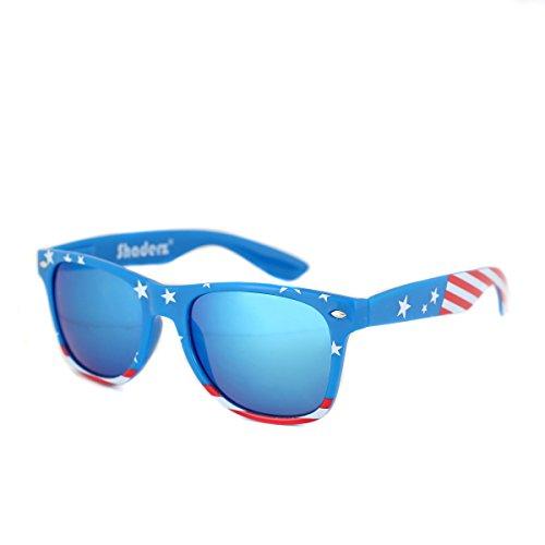 Shaderz Classic Navy Frame Retro 80's American America Sunglasses Ice Blue - Bans Ray Navy