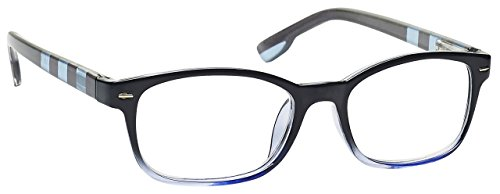 The Reading Glasses Company Black Soft Blue Stripe Readers Mens Womens R40-3 +1.00 by The Reading Glasses Company