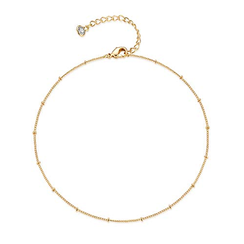 Mevecco Gold Satellite Plain Chain Choker Necklace,Dainty Boho 14K Gold Plated Cute Tiny Beaded Chain Simple Minimalist Choker Necklace for Women