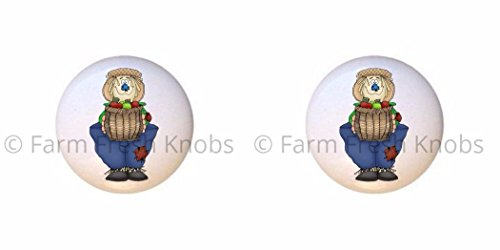 - SET OF 2 KNOBS - Scarecrow Apples - Scarecrows - DECORATIVE Glossy CERAMIC Cupboard Cabinet PULLS Dresser Drawer KNOBS