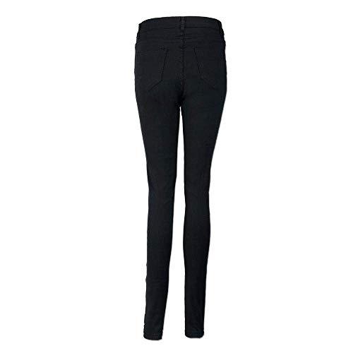 Señoras Cool Ripped Color Slim Moda Lápiz Boyfriend Agujero Casuales Cut Pantalones Schwarz Sólido Largos Biker Jeans Mujeres De Vaqueros Mujer Fit OIwxIXqYr