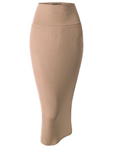 Doublju Women Sexy Fitted Scuba Plus Size Midi Skirt BEIGE,XL