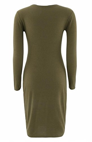 Basic 12 Domple Color Elastic Midi s Women Dress Solid Bodycon Crewneck Casual 1wqT6wP0
