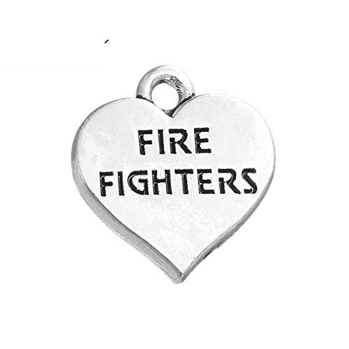 10Pcs/Lot 15X15Mm Zinc Alloy Metal Engraved Letter Fire Fighters Necklace Pendant for Heart Charms Jewelry - Charm Metal Pendant Engraved Heart