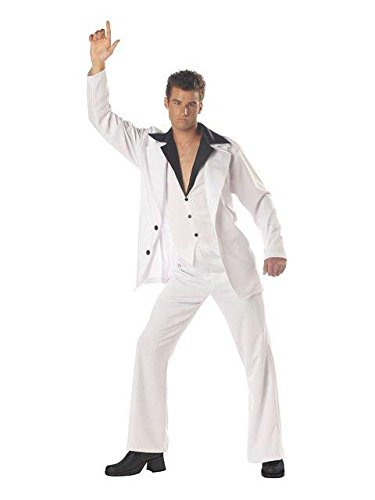 [California Costumes Men's Saturday Night Fever Costume,White/Black,Medium] (70s Outfit Men)