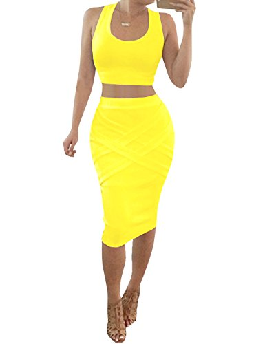 Bess Bridal Womens Crop Top Midi Sexy Outfit Two Pieces Bodycon Bandage Dresses Yellow Medium