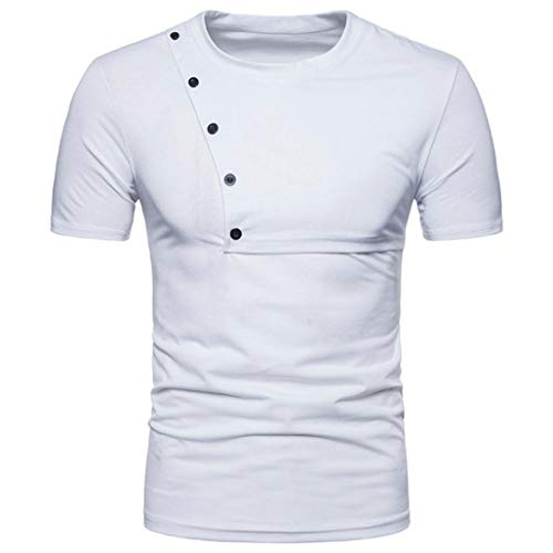 Forthery Mens Fashion Casual Short Sleeve Slim Crew Neck Tee Button Pullover T Shirts (White, US M = Asia L)