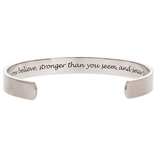 Jude Jewelers Stainless Steel Inspirational Encouragement Bracelet Bangle (You're Braver Than You Believe, Stronger Than You Seem, and Smarter Than You Think) (Inspirational Jewelry Bracelet)