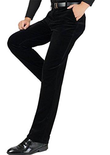 (Nanquan-men clothes NQ Men's Tailgate Expandable Waist Straight Fit Corduroy Pants Black 32)