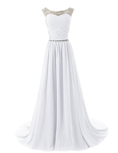 Dressystar Elegant Chiffon Beads Long Prom Dresses 2016 Pleated Party Gowns Size...