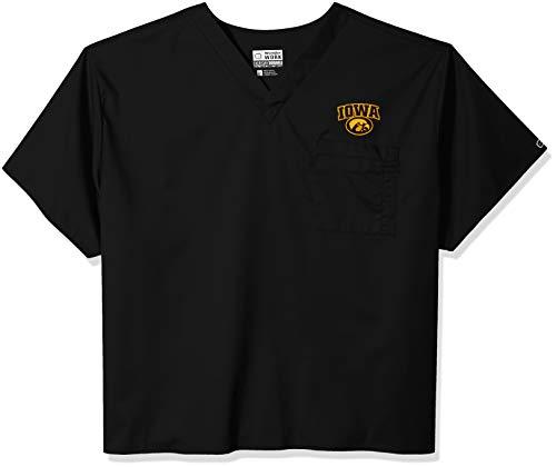 WonderWink Unisex-Adult's University of Iowa V-Neck Top, Black, 5XL