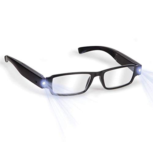 (Bright LED Readers with Lights Reading Glasses Lighted Magnifier Nighttime Reader Compact Full Frame Eyewear Clear Vision Unisex Clear Vision Lighted Eye Glasses (+2.0))